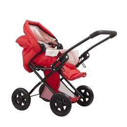 H & H, Dukkevogn Deluxe 55 cm rød