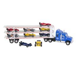 Mega lastebil 60 cm med 9x F1 biler - Blå