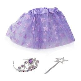 Kjolesett med tiara og tryllestav Lilla