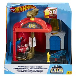Hot Wheels, Fold Out Playset - Fire Station Spinout