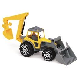 Plasto, Traktor med skuffe og graver, Gul
