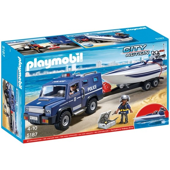 Playmobil, City Action - Politijeep med racerbåt