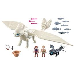 Playmobil Dragons - Vitfasa med drageunge og barn