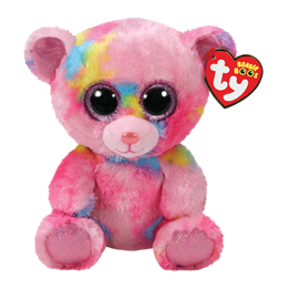 TY, Beanie Boos - Franky pink multicolored bear 15 cm