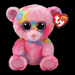 TY, Beanie Boos - Franky rosa flerfarget bjørn 15 cm