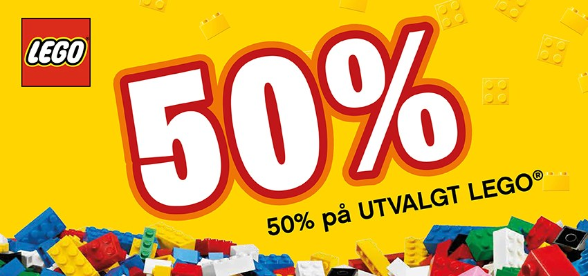 50% PÅ UTVALT LEGO